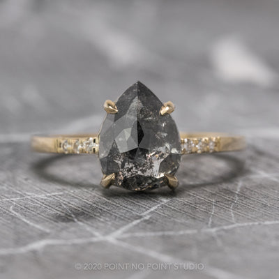 3.14 Carat Black Speckled Pear Diamond Engagement Ring, Jules Setting, 14K Yellow Gold