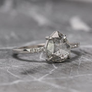 2.01 Carat Translucent Salt & Pepper Pear Diamond Engagement Ring, Jules Setting, 14K White Gold