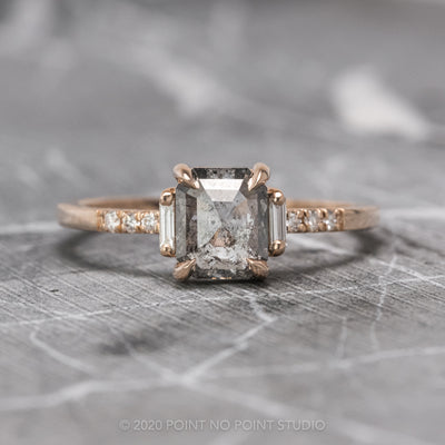 1.22 Carat Salt & Pepper Emerald Shaped Diamond Engagement Ring, Eliza Setting, 14K Rose Gold