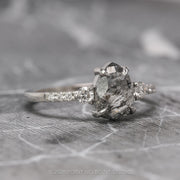 1.67 Carat Salt & Pepper Pear Diamond Engagement Ring, Eliza Setting, 14k White Gold