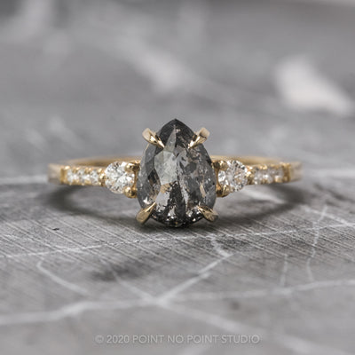 1.63 Carat Black Speckled Pear Diamond Engagement Ring, Eliza Setting, 14k Yellow Gold
