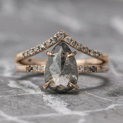 1.59 Carat Black Speckled Pear Diamond Engagement Ring, Ombre Jules Setting, 14K Rose Gold