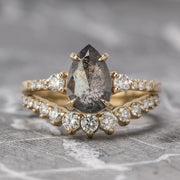1.60 Carat Black Speckled Pear Diamond Engagement Ring, Eliza Setting, 14k Yellow Gold