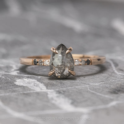 1.06 Carat Salt & Pepper Pear Diamond Engagement Ring, Ombre Jules Setting, 14K Rose Gold