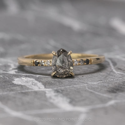 1.09 Carat Salt & Pepper Pear Diamond Engagement Ring, Ombre Jules Setting, 14K Yellow Gold