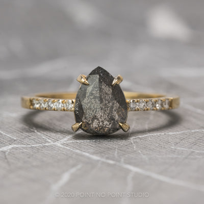 1.37 Carat Black Speckled Pear Diamond Engagement Ring, Jules Setting, 14K Yellow Gold