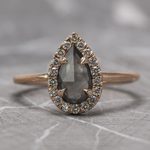 1.06 Carat Black Speckled Pear Diamond Engagement Ring, Halo Setting, 14K Rose Gold