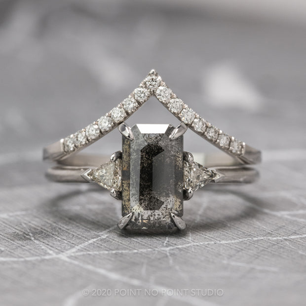 1.72 Carat Black Speckled Emerald Shaped Diamond Engagement Ring, Zoe Setting, 14K White Gold
