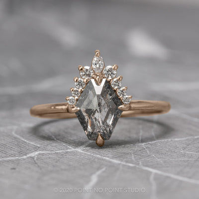 .88ct Salt & Pepper Geometric Diamond Engagement Ring, Ava Setting, 14K Rose Gold