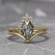 .88ct Salt & Pepper Geometric Diamond Engagement Ring, Ava Setting, 14K Yellow Gold