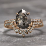 1.58 Carat Black Speckled Pear Diamond Engagement Ring, Jules Setting, 14K Rose Gold