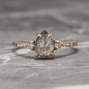 1.44 Carat Salt & Pepper Pear Diamond Engagement Ring, Eliza Setting, 14K Rose Gold