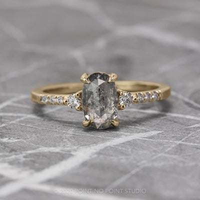 1.12 Carat Salt & Pepper Oval Diamond Engagement Ring, Eliza Setting, 14K Yellow Gold