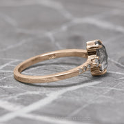 1.12 Carat Salt & Pepper Oval Diamond Engagement Ring, Eliza Setting, 14K Rose Gold