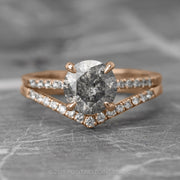 1.72 Carat Salt & Pepper Diamond Engagement Ring, Jules Setting, 14K Rose Gold