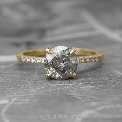 1.72 Carat Salt & Pepper Diamond Engagement Ring, Jules Setting, 14K Yellow Gold