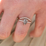 Grey Speckled Pear Diamond Engagement Ring
