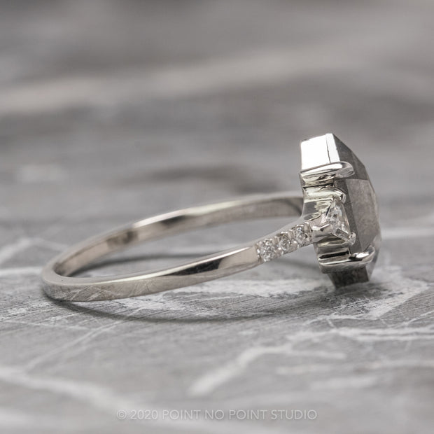 1.18 Carat Grey Speckled Hexagon Diamond Engagement Ring, Eliza Setting, 14K White Gold