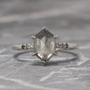 2.26 Carat Translucent Grey Hexagon Diamond Engagement Ring, Ombre Sirena Setting, 14K White Gold