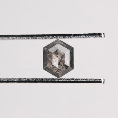 1.73 Carat Black Speckled Hexagon Diamond Engagement Ring, Zoe Setting, 14K Yellow Gold