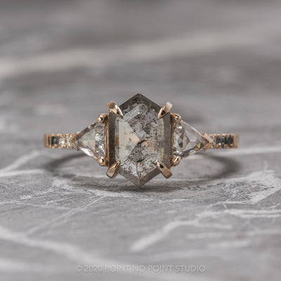 1.33 Carat Salt & Pepper Hexagon Diamond Engagement Ring, Ombre Eliza Setting, 14K Rose Gold