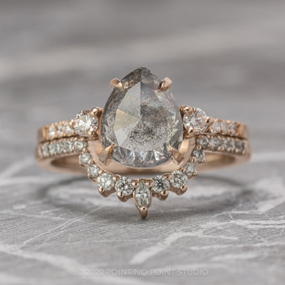 2.54 Carat Salt & Pepper Pear Diamond Engagement Ring, Eliza Setting, 14K Rose Gold