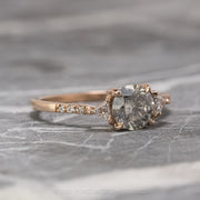 1.19 Carat Salt & Pepper Diamond Engagement Ring, Eliza Setting, 14k Rose Gold