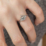 1.17 Carat Salt & Pepper Diamond Engagement Ring, Eliza Setting, 14K White Gold