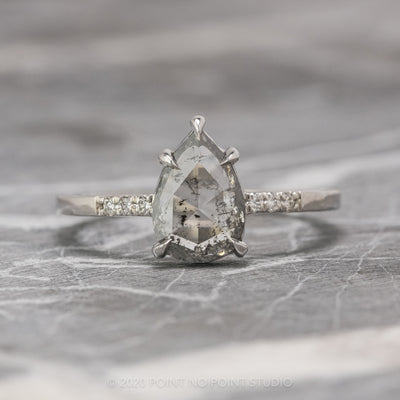 1.03 Carat Translucent Salt & Pepper Pear Diamond Engagement Ring, Jules Setting, 14k White Gold