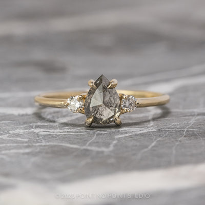 1.12 Carat Salt & Pepper Pear Diamond Engagement Ring, Zoe Setting, 14K Yellow Gold
