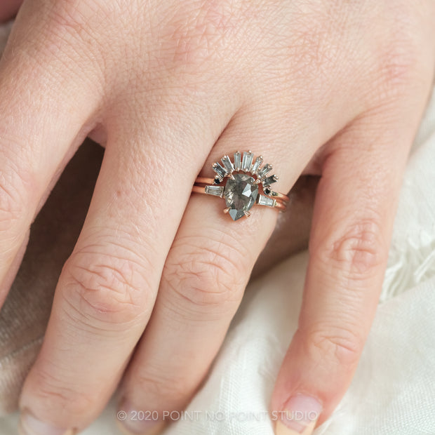 2.05 Carat Black Speckled Pear Diamond Engagement Ring, Zoe Setting, 14K Rose Gold