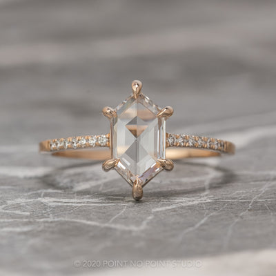 .96 Carat Clear Hexagon Diamond Engagement Ring, Jules Setting, 14K Rose Gold