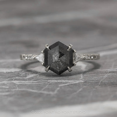 1.96ct Black Speckled Hexagon Diamond Engagement Ring, Eliza Setting, 14K White Gold