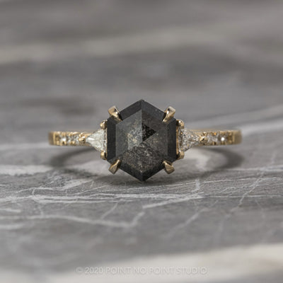 1.96ct Black Speckled Hexagon Diamond Engagement Ring, Eliza Setting, 14K Yellow Gold