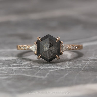 1.96ct Black Speckled Hexagon Diamond Engagement Ring, Eliza Setting, 14K Rose Gold