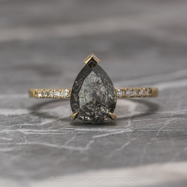 2.71 Carat Black Speckled Pear Diamond Engagement Ring, Sirena Setting, 14K