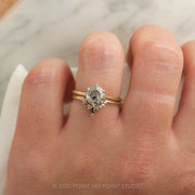 Salt & Pepper Diamond Contour Engagement Ring, Etta Setting, 14k Yellow Gold