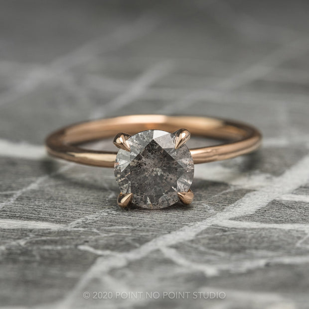 .88 Carat Salt & Pepper Diamond Engagement Ring, Jane Setting, 14k Rose Gold