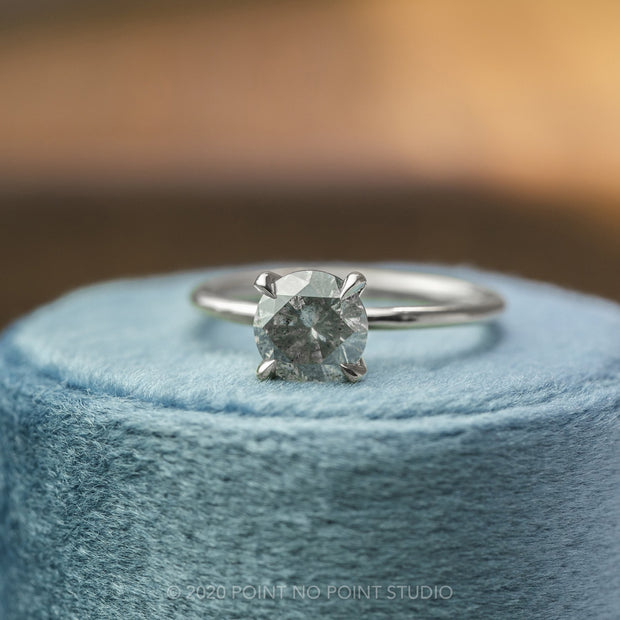 .88 Carat Salt & Pepper Diamond Engagement Ring, Jane Setting, 14k White Gold
