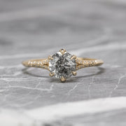 1.03ct Salt & Pepper Diamond Engagement Ring, Mackenzie Setting, 14K Yellow Gold