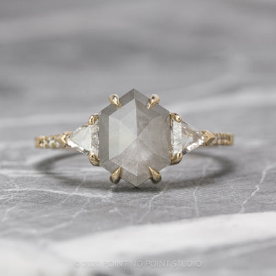 2.11 Carat Grey Hexagon Diamond Engagement Ring, Eliza Setting, 14K Yellow Gold