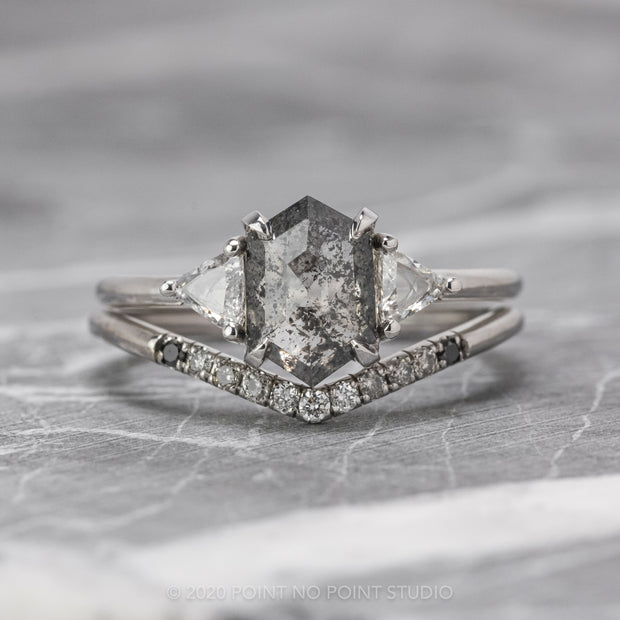 1.51 Carat Salt & Pepper Hexagon Diamond Engagement Ring, Zoe Setting, 14K White Gold