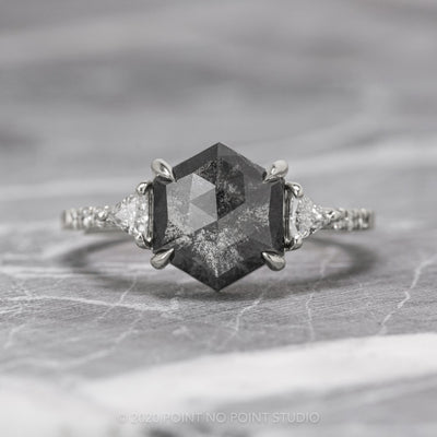 2.48 Carat Black Speckled Hexagon Diamond Engagement Ring, Eliza Setting, 14K White Gold