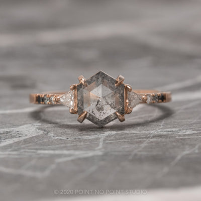 1.06 Carat Salt & Pepper Hexagon Diamond Engagement Ring, Eliza Setting, 14K Rose  Gold