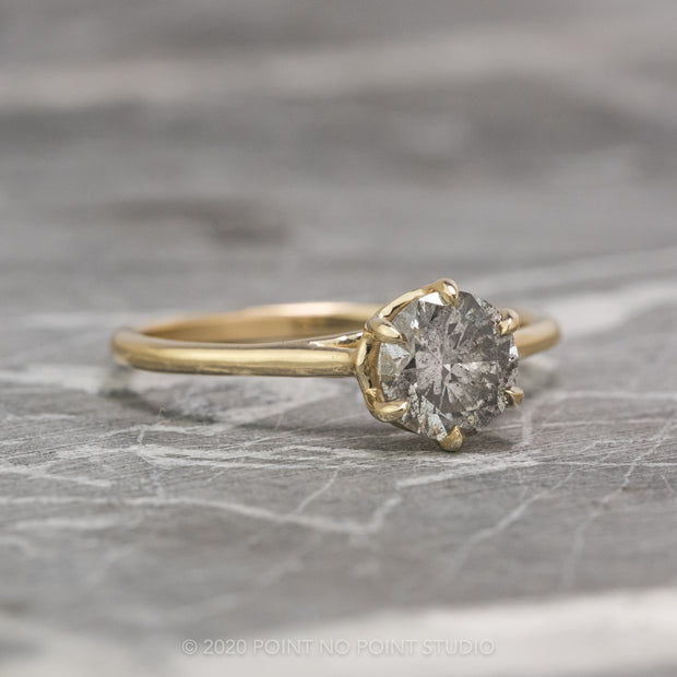 1.05 Carat Salt & Pepper Round Diamond Engagement Ring, Madeline Setting, 14K Yellow Gold