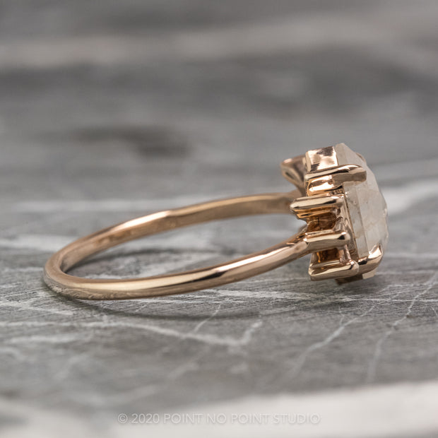 1.37 Carat Hexagon Diamond Engagement Ring, Alina Setting, 14k Rose Gold
