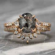 1.59 Carat Black Speckled Oval Diamond Engagement Ring, Eliza Setting, 14K Rose Gold
