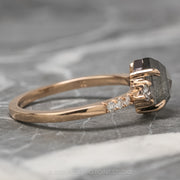 1.99 Carat Grey Speckled Hexagon Diamond Engagement Ring, Eliza Setting, 14K Rose Gold