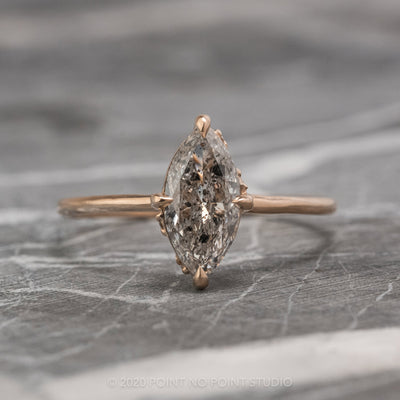 1.06 Carat Salt & Pepper Marquise Diamond Engagement Ring, Rhea Setting, 14K Rose Gold