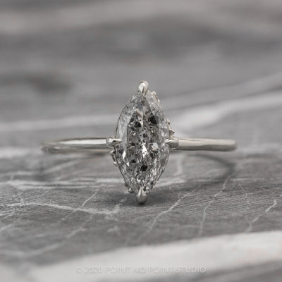 1.06 Carat Salt & Pepper Marquise Diamond Engagement Ring, Rhea Setting, Platinum